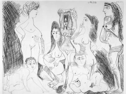 Pablo Picasso. 'Chiquillo introduciéndose en un Hamman un día reservado a las mujeres. Suite 347'c, 1968