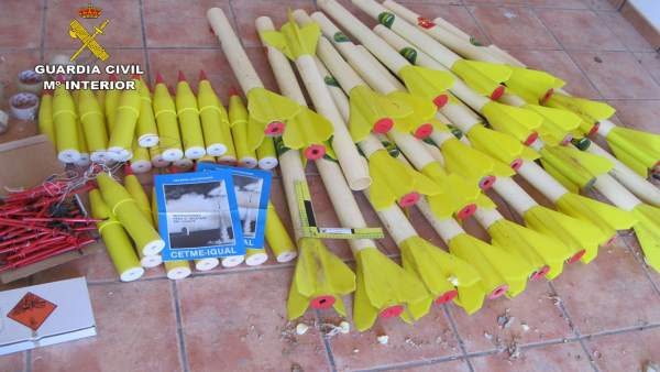Imagen de los cohetes intervenidos