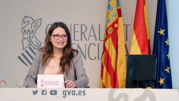 Mónica Oltra en rueda de prensa tras el pleno del Consell