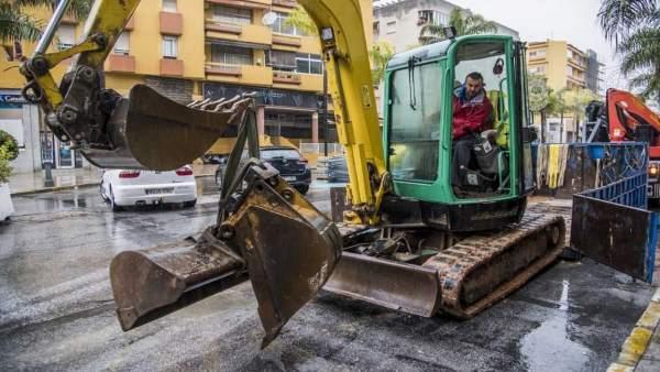 OBras de peatonalizazión de Torremolinos