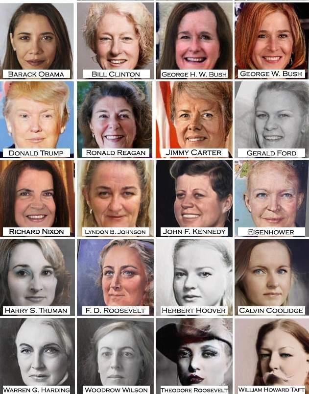Este sería el aspecto que tendrían los presidentes estadounidenses si fueran mujeres