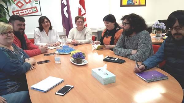 Reunión entre los sindicalistas y Podemos