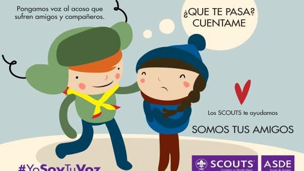 Cartel de la campaña #YoSoyTuVoz que Scouts Aragón inicia este domingo
