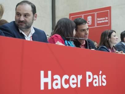 José Luis Ábalos, Cristina Narbona, Pedro Sánchez y Adriana Lastra, este sábado en el Comité Federal.