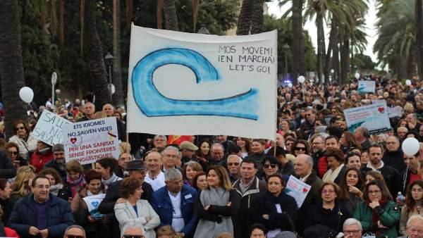 Manifestación contra catalán en sanidad, 2018