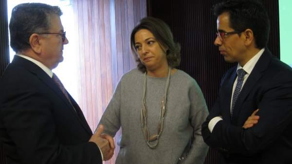Isabel Ambrosio con Manuel Ortigosa y Fernando Rodríguez del Estal