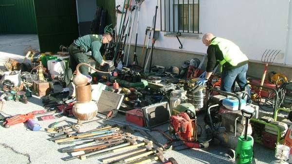 Maquinaria incautada en operación Losán