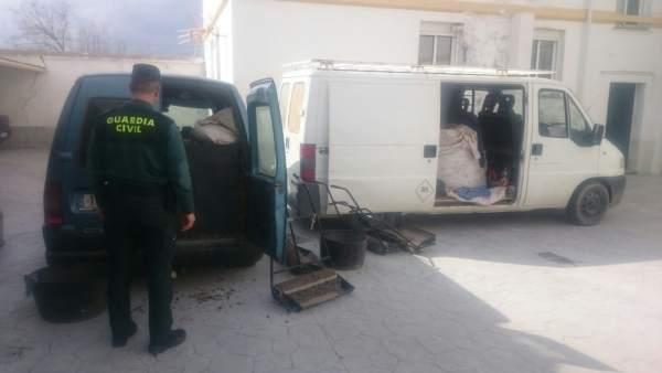 Guardia Civil en operación contra el robo de aceituna en Granada
