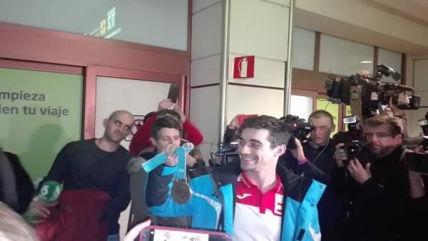 El patinador Javier Fernández a su regreso de PyeongChang