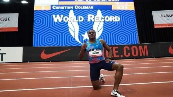 Christian Coleman bate el récord mundial de 60 metros