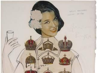 Salvador Dalí. Dalinienne Empire, 1965.  Project into cocktail for summer. Galería Mayoral.