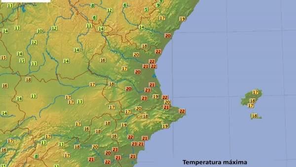 Temperauras máximas en la Comunitat Valenciana, 20 de febrero de 2018