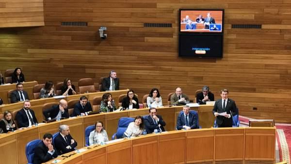 Nuñez Feijóo durante la sesión de control al Gobierno este miércoles en el pleno
