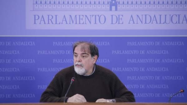 Jesús Romero, presidente del grupo parlamentario de Podemos, en rueda de prensa