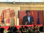 Carles Puigdemont en un acto de campaña de JuntsxCat.