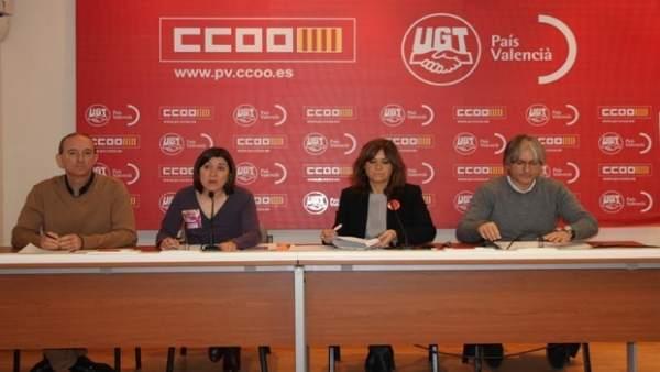 Rueda de prensa CCOO PV y UGT PV