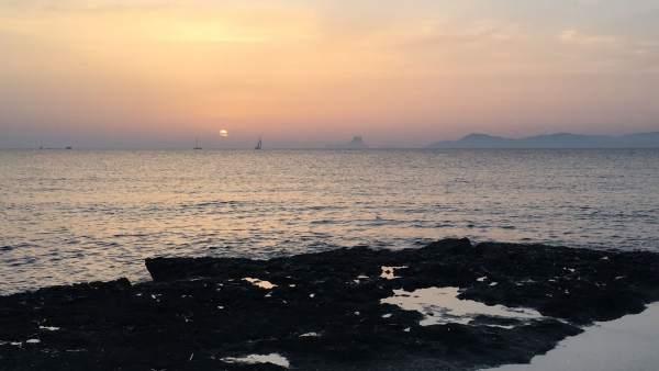 Atardecer, tiempo, mar mediterráneo, Formentera