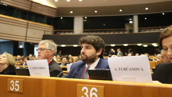 El presidente de Murcia, Fernando López Miras en Bruselas