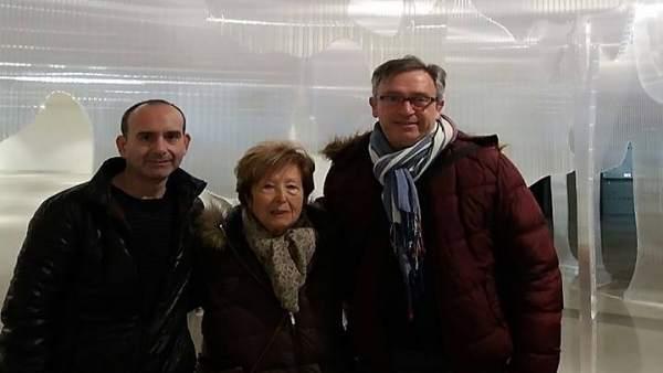Pilar Palazón en el Museo Íbero con Rafael Cámara y Remigio Delgado, de Iuventa.