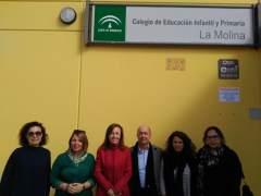 Fernández en su visita al CEIP La Molina