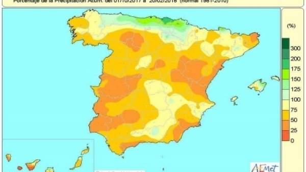 Mapa de precipitaciones acumuladas en España hasta el 20 de febrero