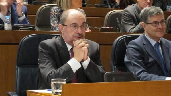Javier Lambán, en la sesión plenaria