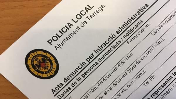 Formulario de denunica de la Policía Local de Tàrrega (Lleida)