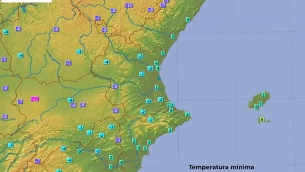 Les mínimes cauen fins als -7,6 graus centígrads a Ademuz (València)