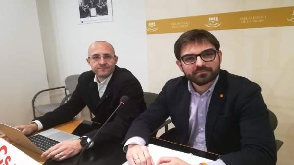 El portavoz Diego Ubis y el diputado David Vallejo