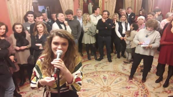 Amaia Romero, ganadora de OT, en el Ayuntamiento de Pamplona.