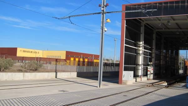 Cocheras del tranvía de Jaén en una imagen de archivo.