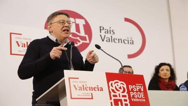 Puig durante el congreso comarcal del PSPV