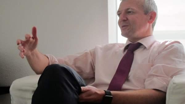 El vicepresidente, Alfonso Rueda, en una entrevista con Europa Press