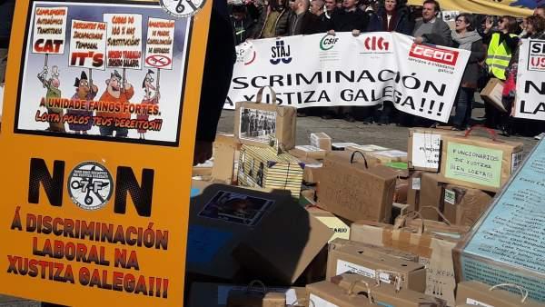 Protesta funcionarios justicia Galicia