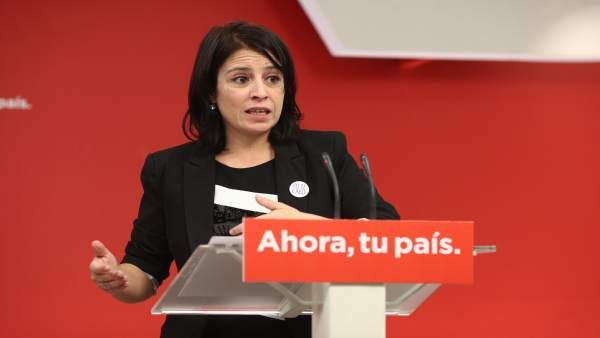 Rueda de prensa de Adriana Lastra en la sede del PSOE