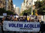 La protesta ha estado encabezada por la pancarta 'Volem acollir'