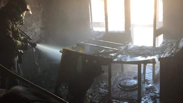 Vivienda incendiada en Sevilla