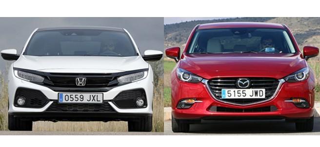 Comparativa del Honda Civic y el Mazda3