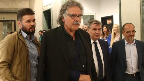 Rufián, Tardà, Xuclà y Campuzano.