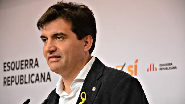 El portavoz de Esquerra Republicana, Sergi Sabrià, en rueda de prensa.