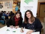 Nena Paine y Ana Cabrera de Fundación Unicaja firman convenio de atención menore