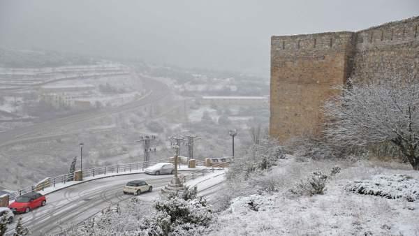 Nieve en Morella en imagen de archivo