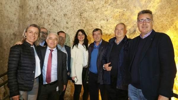 José Antonio Funes con dirigentes de Cs en Lucena