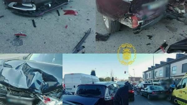 Imágenes del accidente publicadas por la Policía Local en Twitter