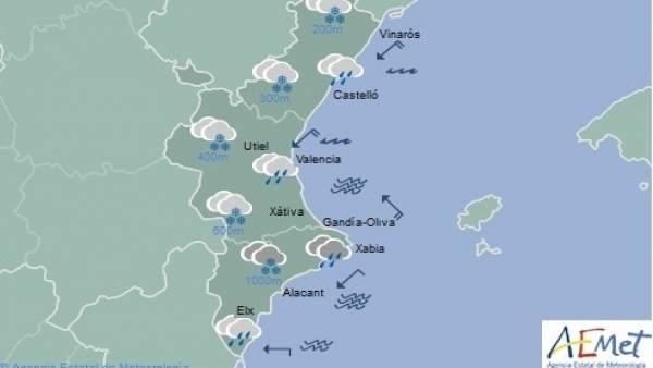 Neu, pluges i temperatures en notable descens aquest dimarts a la Comunitat Valenciana
