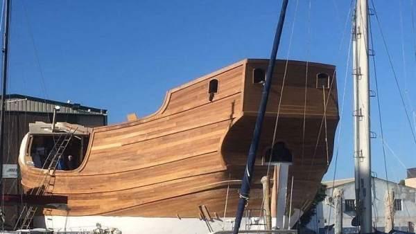 Fase final de la construcción de la Nao Santa María