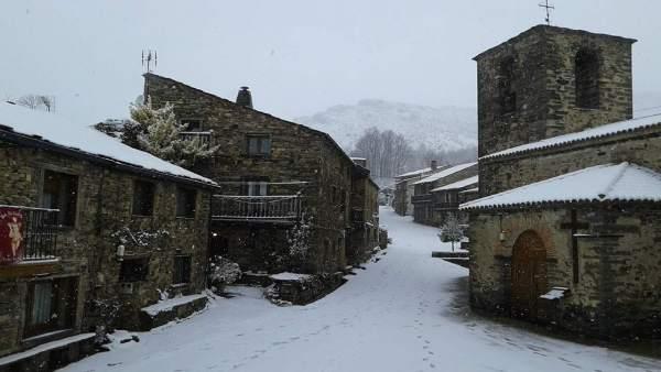 Localidad nevada, nieve.