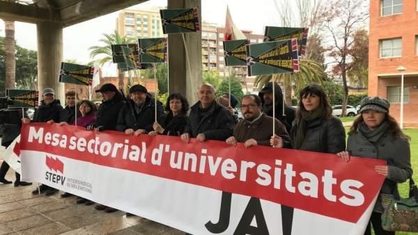 STEPV es concentra davant Educació per a exigir la Mesa Sectorial d'Universitats