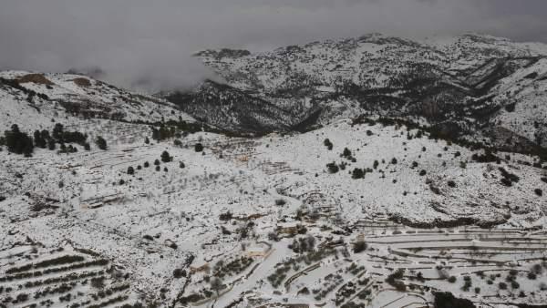 Nieve en la provincia de Alicante durante el temporal