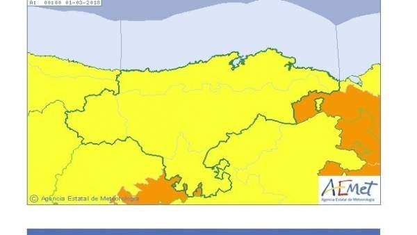 Cantabria, en riesgo por nieve y bajas temperaturas. Miércoles 28 de febrero